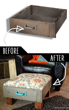 DIY Furniture Hacks Foot Rest from Old Drawers Cool Ideas for Creative Do It Yourself Furniture Cheap Home Decor Ideas for Bedroom, Bathroom, Living Room, Kitchen. Diy Furniture Cheap, Diy Furniture Hacks, Refurbished Furniture, Repurposed Furniture, Furniture Makeover, Home Furniture, Bedroom Furniture, Furniture Stores, Chair Makeover