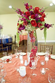 images of red roses centerpieces | tall purple and red rose centerpiece