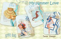 Digital Collage Sheet  My summer Love gift Tags от TaniaDesign