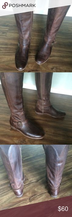 Cole Haan tall brown boots Timeless leather Cole Haan boots. Buckle at ankle. Zips along inside of leg. Large elastic section on top of back leg for extra room. Shows some wear but plenty of life left!! Top of boot 7 3/4, shaft height 15. Cole Haan Shoes Heeled Boots