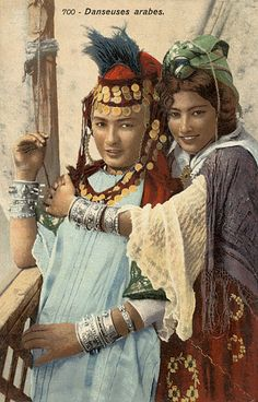 """Danseuses des Ouled Nail"" ~ Tunisia & Algeria collection of coloured postcards by Lehnert & Landrock 