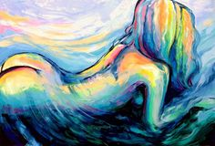 Nude painting abstract figure oil on canvas by Aja 28x42 inches Absorbing The Earth And Sky on Etsy, $899.52 CAD
