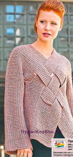 1008 Пуловер с переплетениями на груди