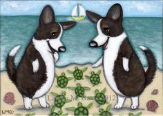 Brindle Cardigan Welsh Corgi Dog Fun Cute Baby Sea Turtles Original ALEX 5x7 Painting Folk Beach LAUREN M. DAVIS ART FOR SALE