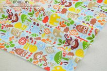 1 metro azul Zoo coruja tecido de algodão acolchoado tecido Bedding Sets de costura pano patchwork Home Textile frete grátis W3B3-6-2(China (Mainland))