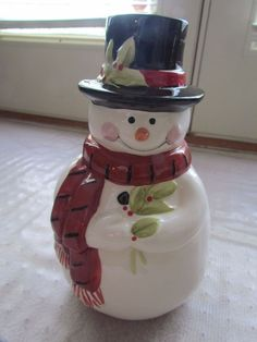 Adorable Holiday 11' Top Hat Snowman Ceramic Cookie Jar with Red Scarf | eBay