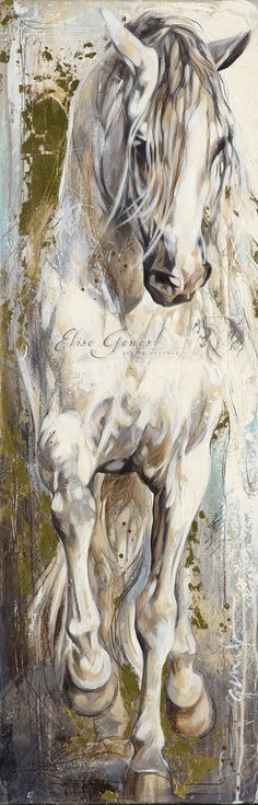 Cheval de Mer to drawing a horse Elise Genest Horse Drawings, Art Drawings, Arte Equina, Horse Artwork, White Horses, Equine Art, Western Art, Animal Paintings, Horse Paintings