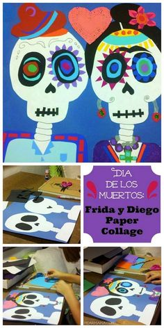 fall art projects for kids Frida-Diego-Papier-Collage siehe Mexiko Halloween Art Projects, Theme Halloween, Fall Art Projects, School Art Projects, Projects For Kids, Spooky Halloween, Happy Halloween, Halloween Costumes, Art Plastique Halloween