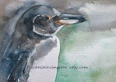 Original penguin painting /Galapagos Penguin PAINTING 5 x 7 bird watercolor in black aqua white cream blue seafoam yellow BOGO sale. $55.00, via Etsy.