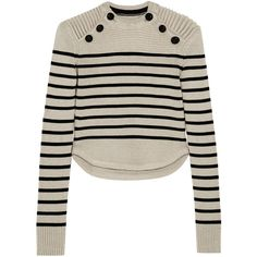 Isabel Marant Hatfield striped merino wool-blend sweater (1,380 BAM) ❤ liked on Polyvore featuring tops, sweaters, isabel marant, knitwear, white, slim shirt, merino wool sweater, loose shirts, slim fit shirt and striped sweater