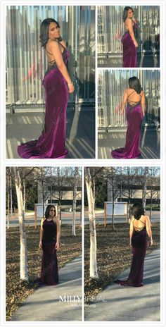 Mermaid Prom Dresses Long 2019 Purple Formal Dresses For Teens Velvet Evening Dresses Open Back Ball Gown Dresses, Pageant Dresses, Modest Dresses, Simple Dresses, Sexy Dresses, Summer Dresses, Prom Gowns, Cheap Dresses, Evening Dresses