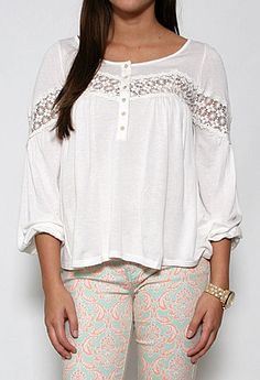 Long Sleeve Top with Embroidered Stripe More Colors Available