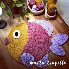I hope you like itPhotography New carpet of a little fish 🐟🐠! I hope you like it CROCHET PATTERN Joyce and Justin Whale Rug Nursery Mat Carpet Crochet Carpet, Crochet Home, Crochet Fish, Crochet Yarn, Crochet Rug Patterns, Crochet Doilies, Love Knitting, Baby Knitting, Animal Rug