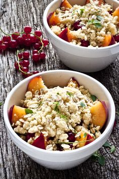 Peach & redcurrant crumble with wholegrain oats & fresh basil