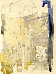 Watercolour of the Copper Soukh, Tripoli, Libya www.nickhirst.co.uk // sketchbook