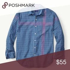 Tommy Bahama The Grid from Ipanema Shirt In Blue Great shirt by Tommy Bahama. 100%Cotton. Long sleeves. Color is Bering Blue. Has red grid pattern on the blue plaid. Brand new with tags Tommy Bahama Shirts Casual Button Down Shirts