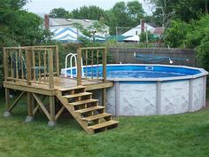 Above Ground Pool Ideas Backyard image result for partially buried above ground pool Find This Pin And More On Pools Above Ground Pools Decks