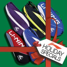 """MODERN DAY Li-Ning SANTA BAGS! Check out the ultimate badminton lovers """"Christmas Candy Store"""" and buy them something they really want this year! Li-Ning Badminton products are available at your local Li-Ning Badminton dealer or reseller and directly online with Fast FREE Shipping on orders of $100 or more!"""