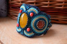Beadwork Bracelet Bead Embroidered Agate by TaitallasHandmade