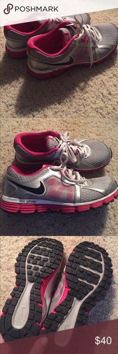 Nikes Worn a few times, like new! So much life left. Youth size. Little snug on me and I'm typically a 7/7.5 Nike Shoes Sneakers