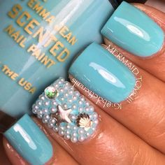 Pastel Blue Ocean Nails With Seashell Starfish and Pearl Accents