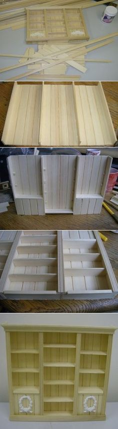 Barbie furniture diy popsicle sticks doll houses 36 ideas for 2019 Miniature Crafts, Miniature Houses, Miniature Dolls, Diy Dollhouse Miniatures, Dollhouse Ideas, Dollhouse Dolls, Bookshelf Dollhouse, Dollhouse Tutorials, Popsicle Stick Crafts