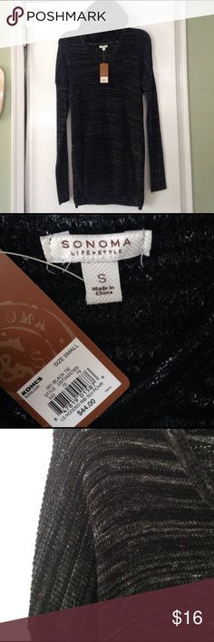 """Hooded rib long sweater All cotton. Lightweight and soft . Approx. 29"""" long and 16"""" wide. Stretchy.  (last pic) some loose thread at bottom of vneck but can't notice and an easy fix. sonoma Sweaters"""