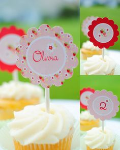 Strawberry party - printable cupcake toppers by Twinkle Twinkle Little Party