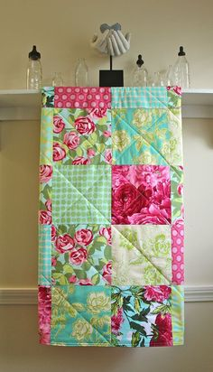 Baby Quilt Girl  Red Roses  Flannel or Minky by FernLeslieBaby, $98.00 Love the combo of fabrics and colors