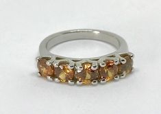 Sterling Silver Orange Zircon Ladies Ring Size 5.25 Barely Worn Nice #TGGC