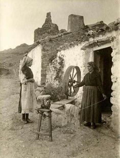 Spinning wool on the great wheel. Spain, 1917 I
