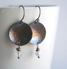 Copper and Rainbow Moonstone Earrrings by BalsamrootRanch on Etsy, $34.00