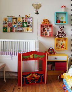 Wallpaper backed box shelves and printers tray / Freja´s Room
