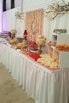 Wedding desserts, party buffet, dessert buffet, baby shower buffet, rose go Party Buffet, Dessert Buffet, Wedding Desserts, Wedding Decorations, Appetizers Table, Brunch Party, Food Displays, Candy Table, Candy Buffet
