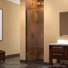 "DreamLine SHDR-20307210F-HFR Unidoor 72"" High x 30"" Wide Hinged Frameless Shower Brushed Nickel Showers Shower Doors Swing"
