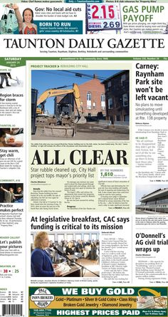 The front page of the Taunton Daily Gazette for Saturday, Jan. 24, 2015.