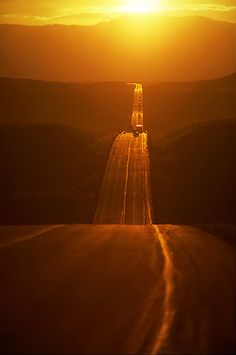 the winding road in sunrise