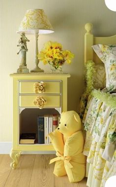 Happy yellow bedroom. Love the drawer pulls.