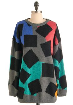 Vintage Collage Grad Sweater - Multi, Yellow, Blue, Pink, Black, Grey, Print, Casual, Vintage Inspired, 80s, Long Sleeve, Fall, Winter