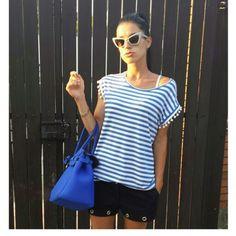 Mariacristina_maryjane on Instagram. Instagram Pic // striped Kontatto tee // Bag Savemybag // Shorts dolce e gabbana // sunglasses iceberg Tee Bag, Mary Janes, Sunglasses, Shorts, Blouse, Instagram, Tops, Women, Style