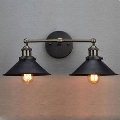 CLAXY® Ecopower Industrial Edison Simplicity 2 Light Wall Mount Light Sconces Aged Steel Finished