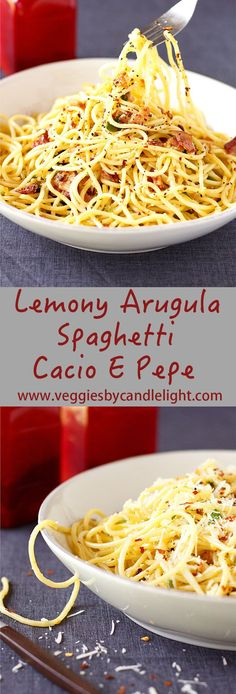 "Lemony Arugula Spaghetti Cacio E Pepe - Literally ""cheese and pepper"", this minimalist pasta is like a stripped-down mac and cheese. Lemon adds spunk, arugula for color & healthy dose of greens"