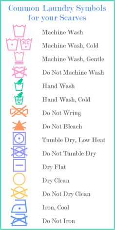 Laundry symbols commonly found on scarf tags