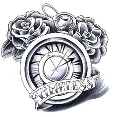 "A meaningful clock tattoo idea with the word ""Timeless"" written on a banner. Also, there are some roses in the background."