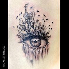 Eye with birds, trees and waterfall by Natalia Borgia