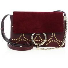 Chloe Faye Small Studded Circle Suede  amp  Leather Shoulder Bag ( 1,790) ❤  liked 4a9e0dba82