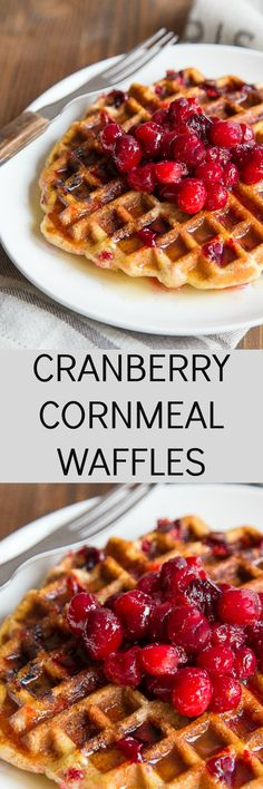 Uses for leftover cranberry sauce: these cranberry cornmeal waffles! A ...