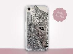 Wolf Glitter Phone Case  Phone Case  iPhone 8 Case  Clear