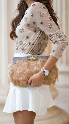 Beige Embellished Sheer Blouse