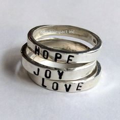 Silver stacking rings, promise ring, hope ring, joy ring, love rings, hand stamped ring, stacking ring, simple band - In the Heart R2145